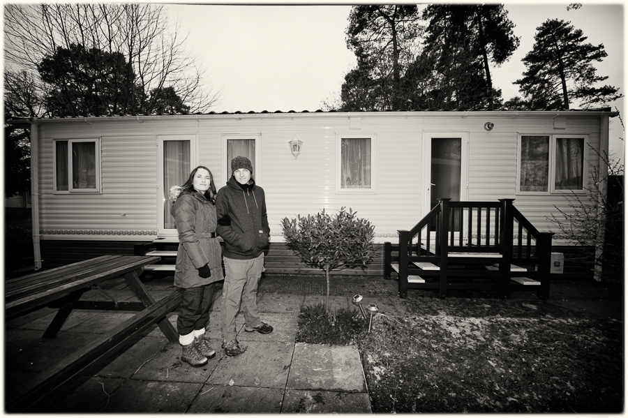 Mark and I next to the caravan at Sandy Balls, New Forest