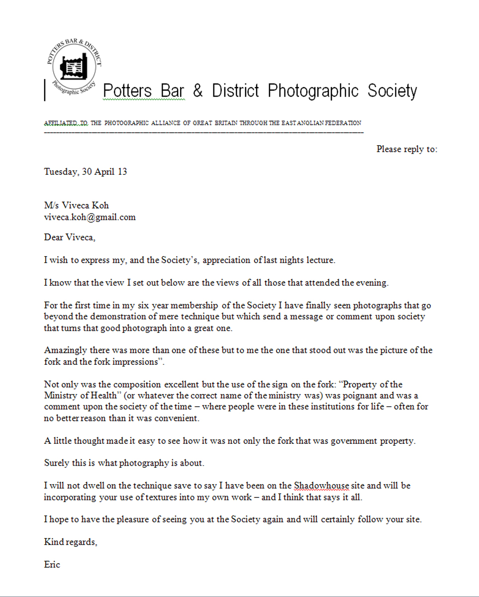 lovely letter of thanks from potters bar photographic society and manage to convince myself that i have no talent or skill so a huge thank you to everyone there for your appreciation it really does mean a lot