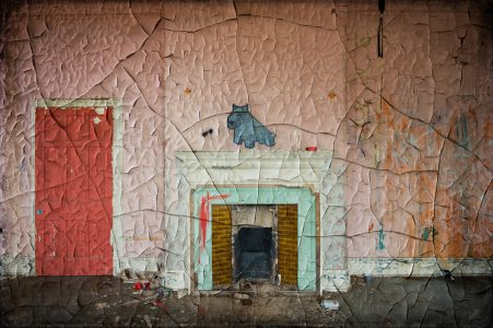 Room in derelict Hellingly Asylum, West Sussex. Cracked paint texture overlay, dog painting on mantelpiece by Luke da Duke