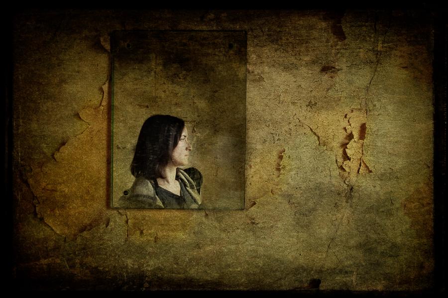 Self portrait in mirror reflection, derelict asylum