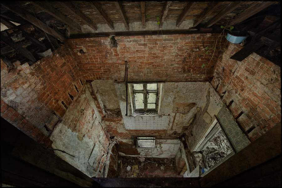 Collapsed floors, derelict Manor House 'B', Norfolk, UK