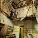 Collapsed floors, kitchen, derelict Manor House 'B', Norfolk, UK